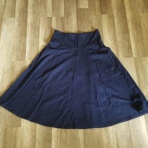 Anthropologie Maeve Navy Blue Polka Dot Midi Skirt